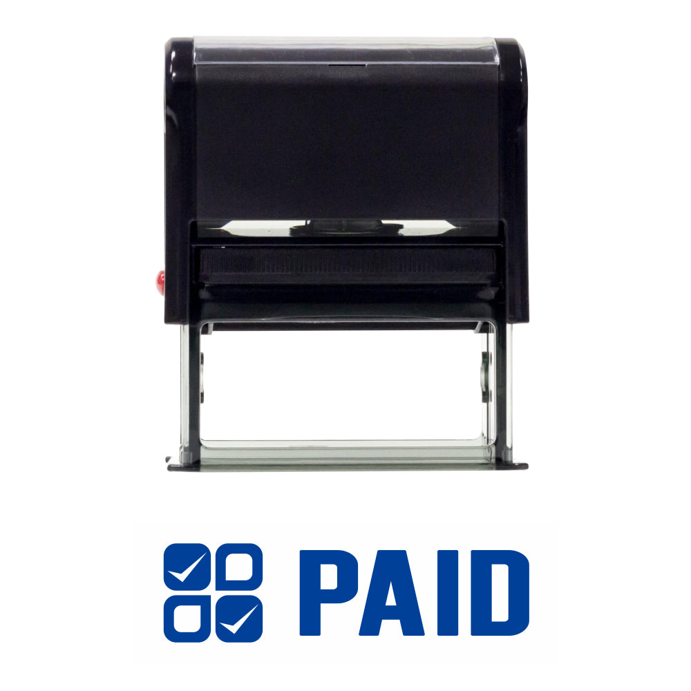 Paid W/ Check Icon Self Inking Rubber Stamp