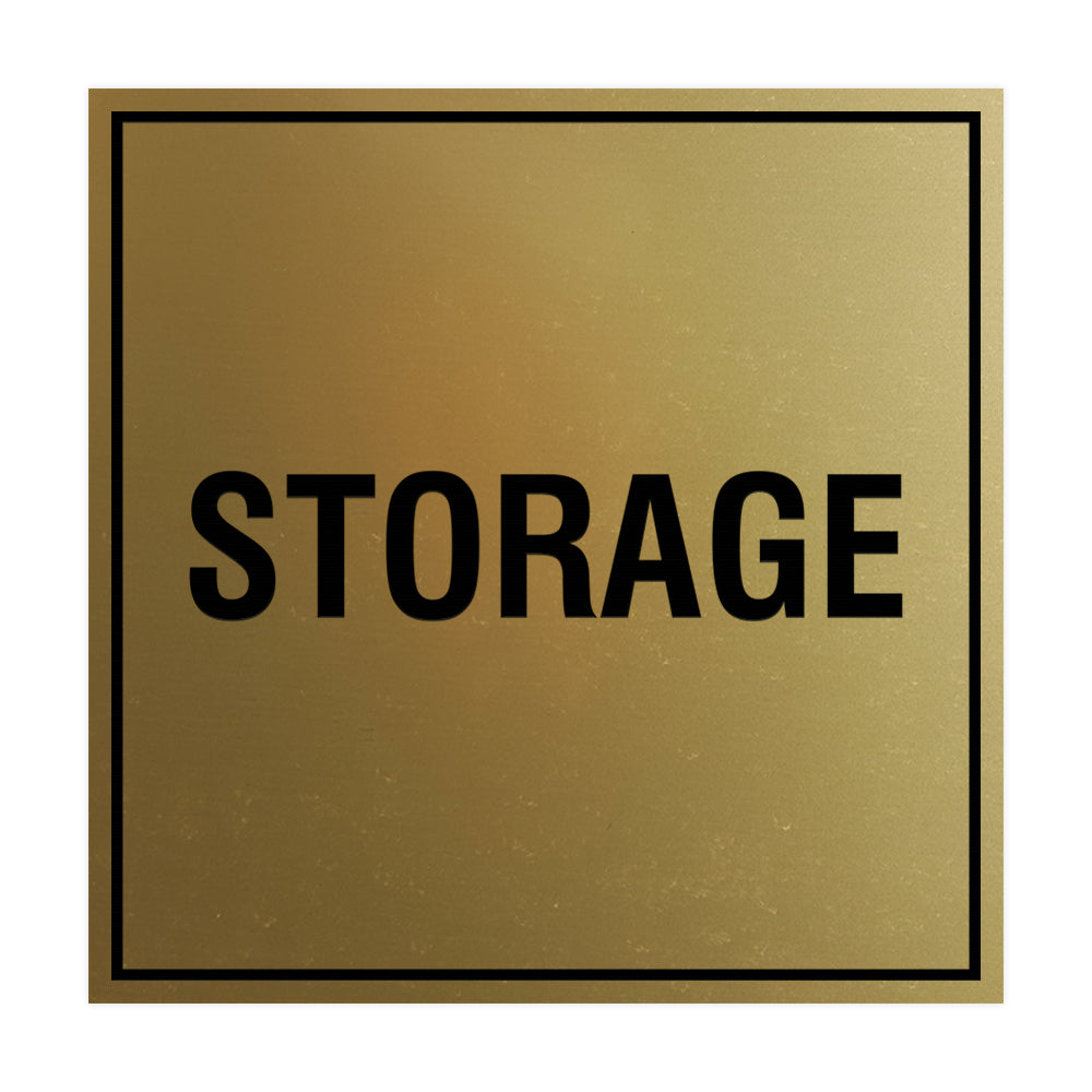 Brushed Gold Signs ByLITA Square Storage Sign