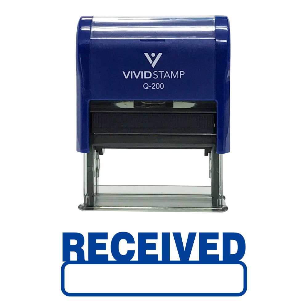 Blue Received Self-Inking Office Rubber Stamp