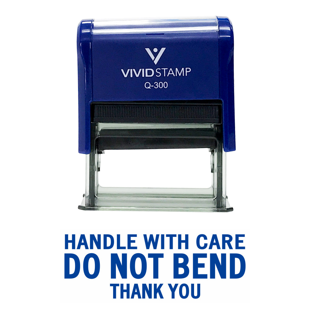 Handle With Care Do Not Bend Self Inking Rubber Stamp