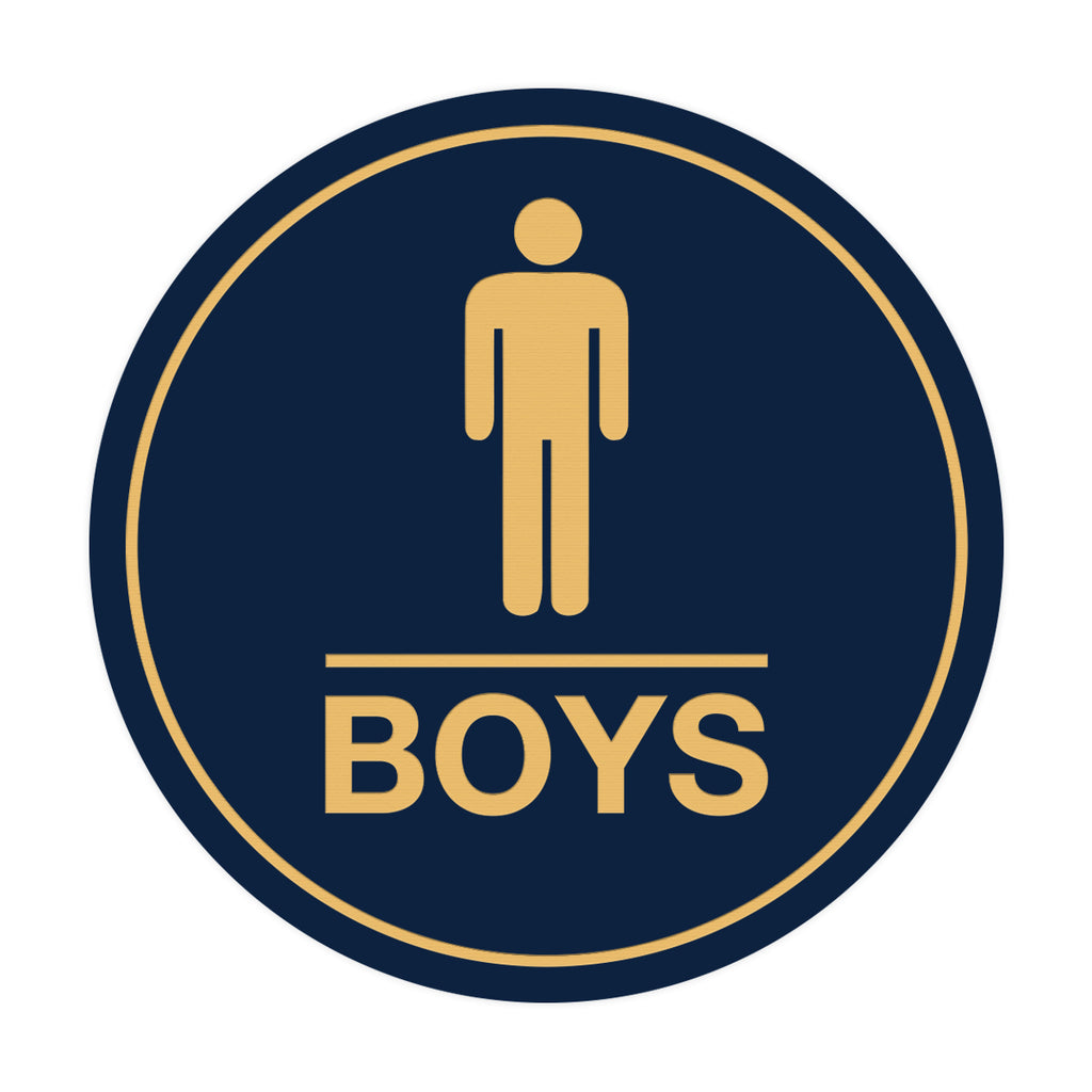 Signs ByLITA Circle Boys (male bathroom icon) Sign