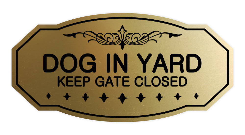 Victorian Dog In Yard Keep Gate Closed Sign