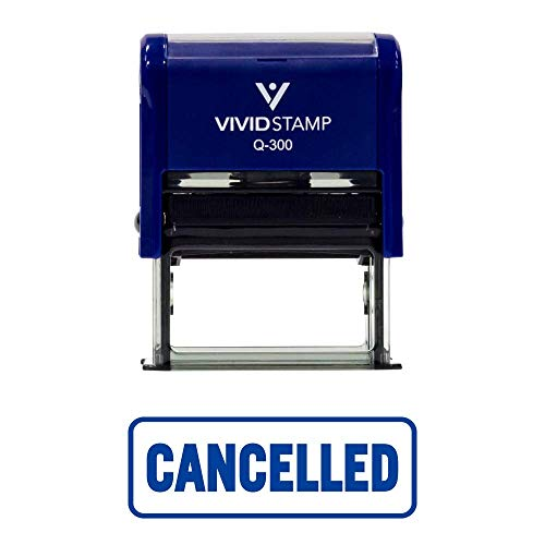 Blue Cancelled W/Border Office Self-Inking Office Rubber Stamp