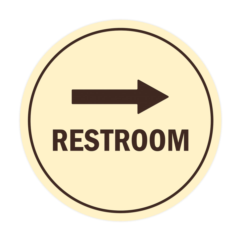Signs ByLITA Circle Restroom Right Arrow Sign