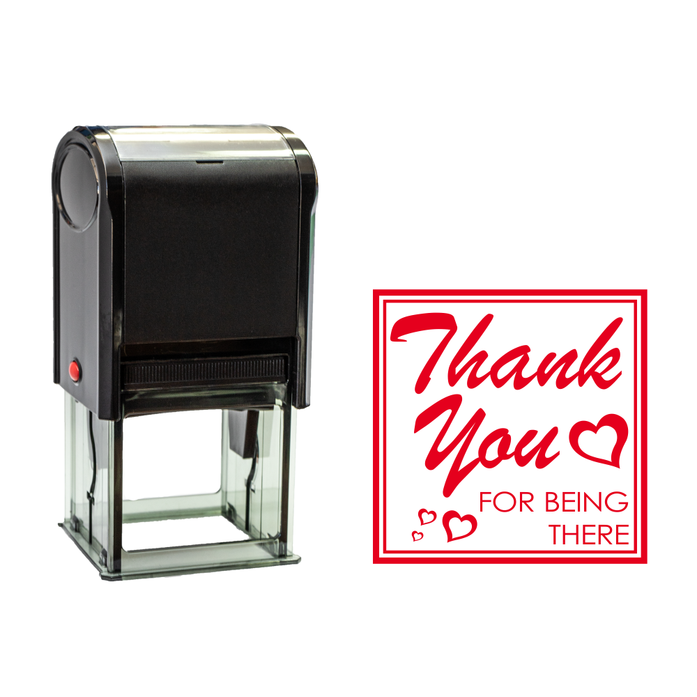 Red Square Thank You For Being There Self Inking Rubber Stamp Size 1-5/8""