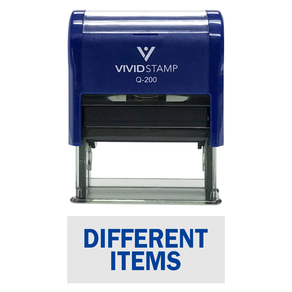Blue DIFFERENT ITEMS Self-Inking Office Rubber Stamp