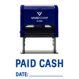 Paid Cash With Date Line Self Inking Rubber Stamp