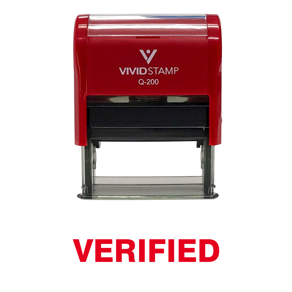 Red Verified Self Inking Rubber Stamp