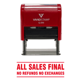 Red All Sales Final No Refunds No Exchanges Self Inking Rubber Stamp