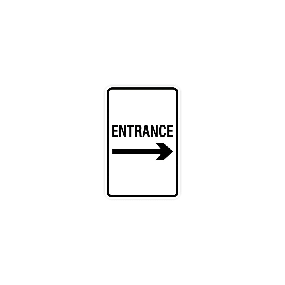 Signs ByLITA Portrait Round Entrance Right Arrow Sign with Adhesive Tape, Mounts On Any Surface, Weather Resistant, Indoor/Outdoor Use