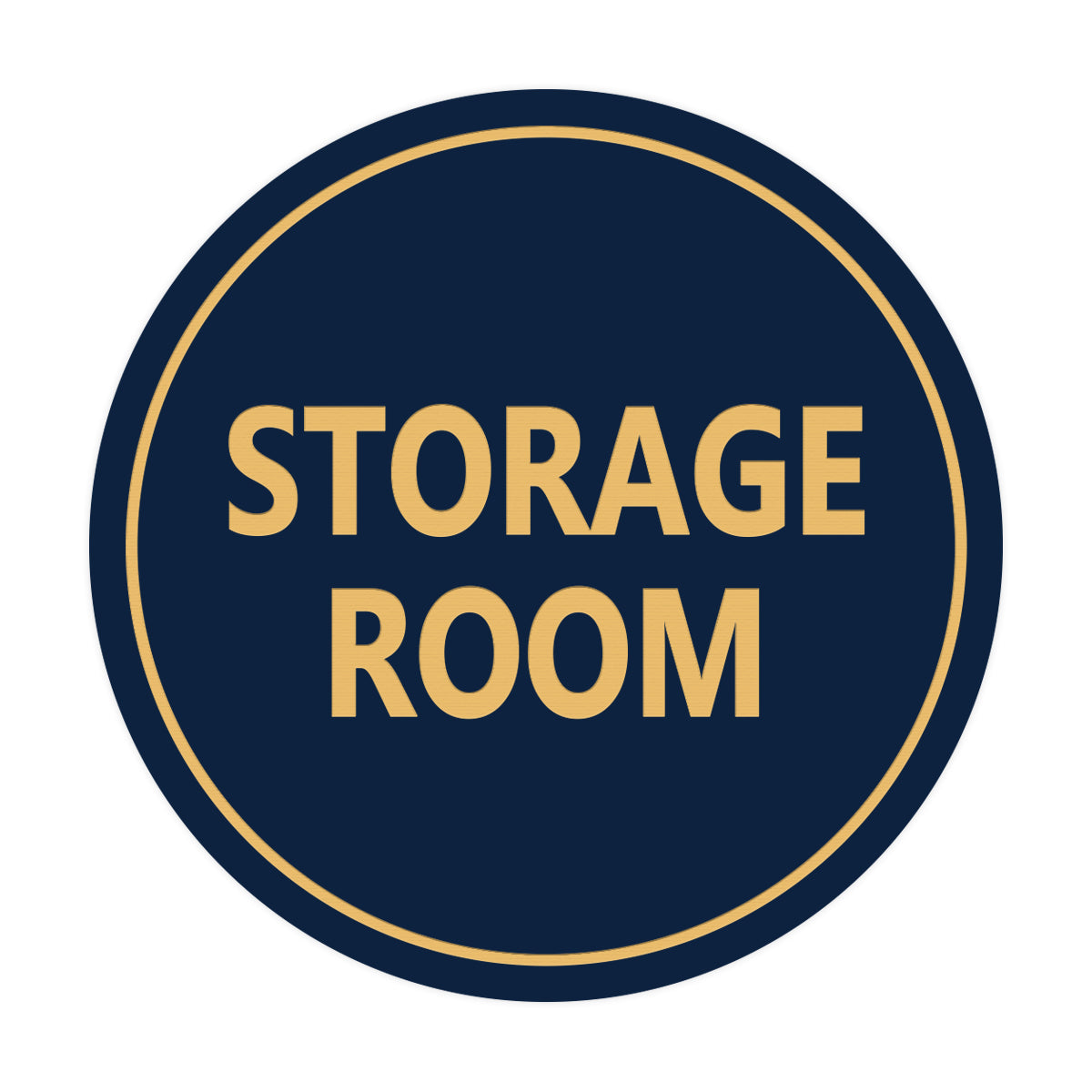 Navy Blue / Gold Signs ByLITA Circle Storage Room Sign