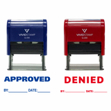 Red & Blue APPROVED / DENIED By Date Self Inking Rubber Stamp
