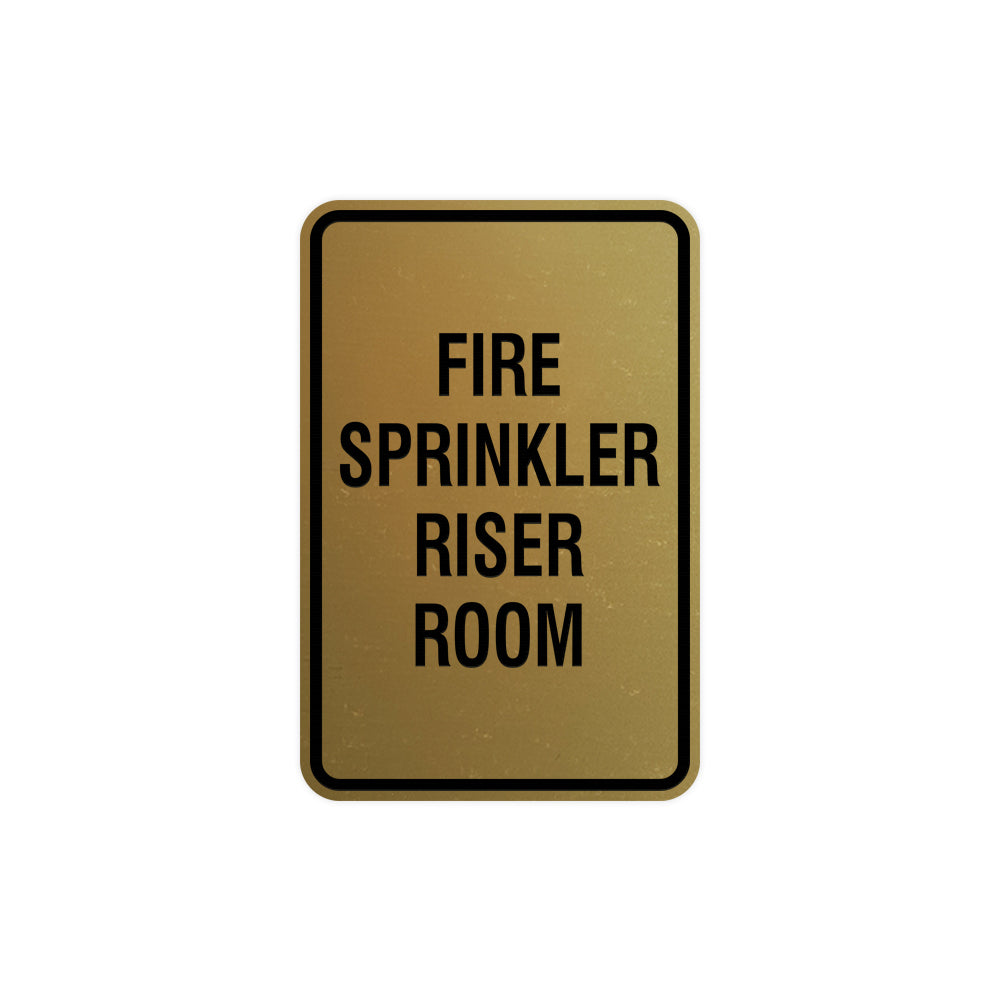 Portrait Round Fire Sprinkler Riser Room Sign with Adhesive Tape, Mounts On Any Surface, Weather Resistant