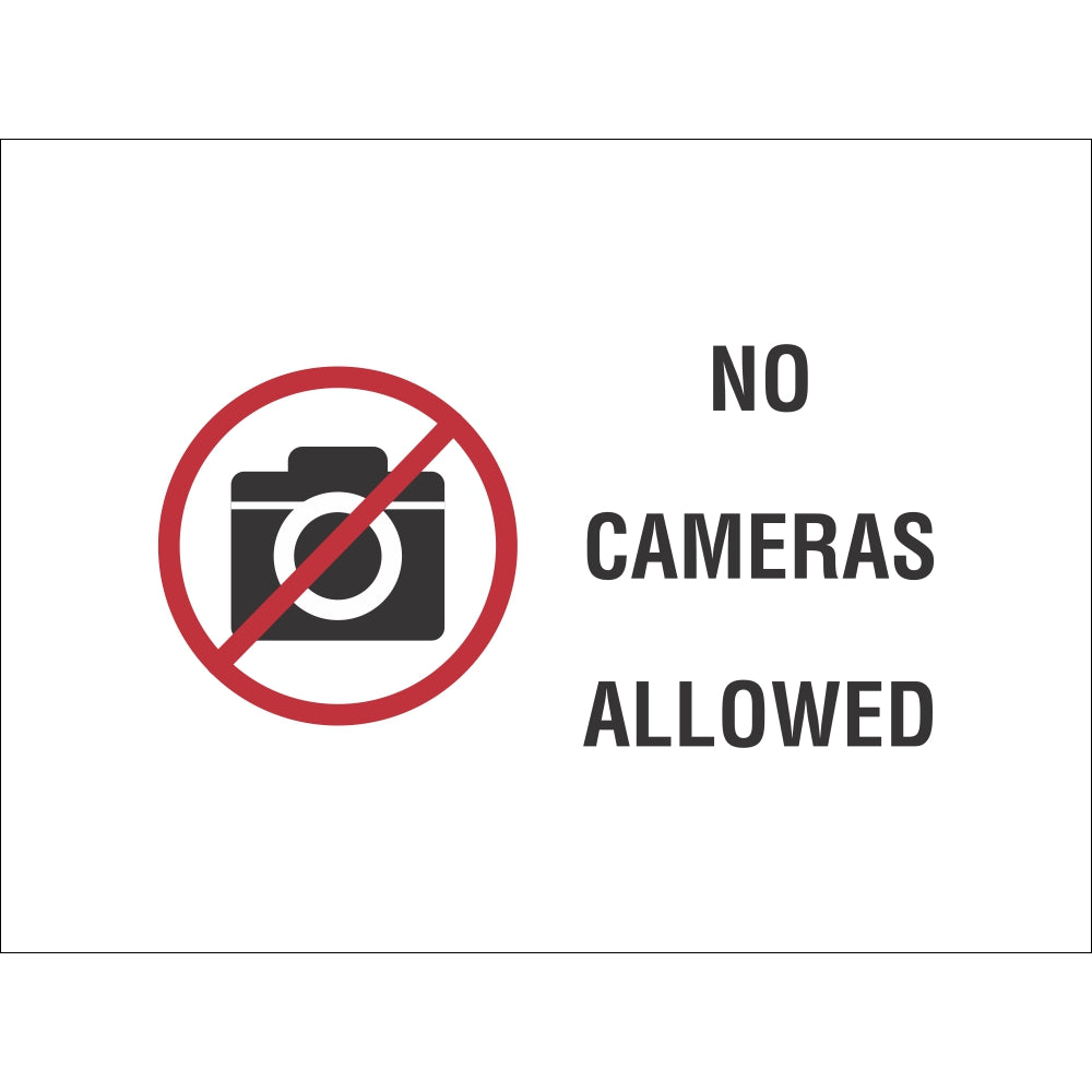No Cameras Allowed | 9 x 12 Plastic Sign