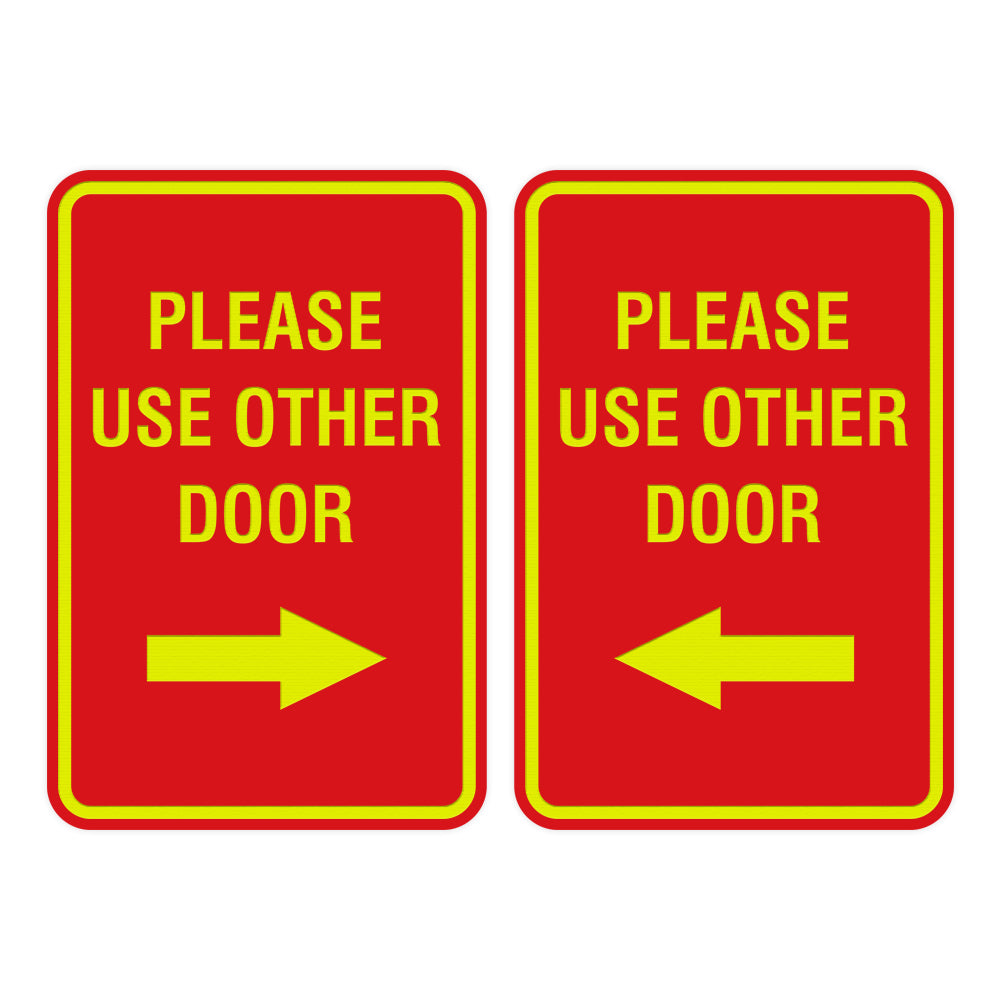 Portrait Round Please Use Other Door Sign Set with Adhesive Tape, Mounts On Any Surface, Weather Resistant