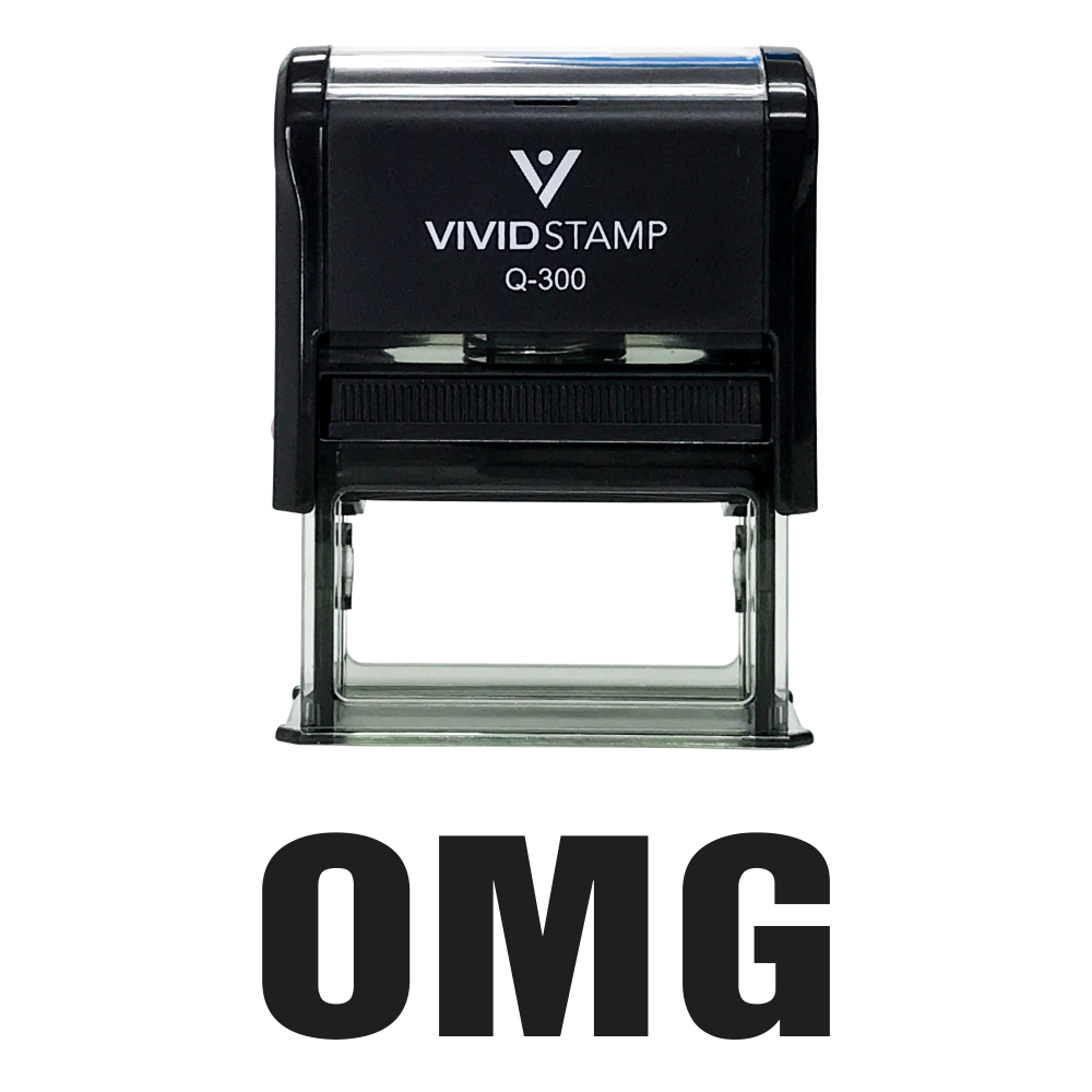 Black OMG Self Inking Rubber Stamp