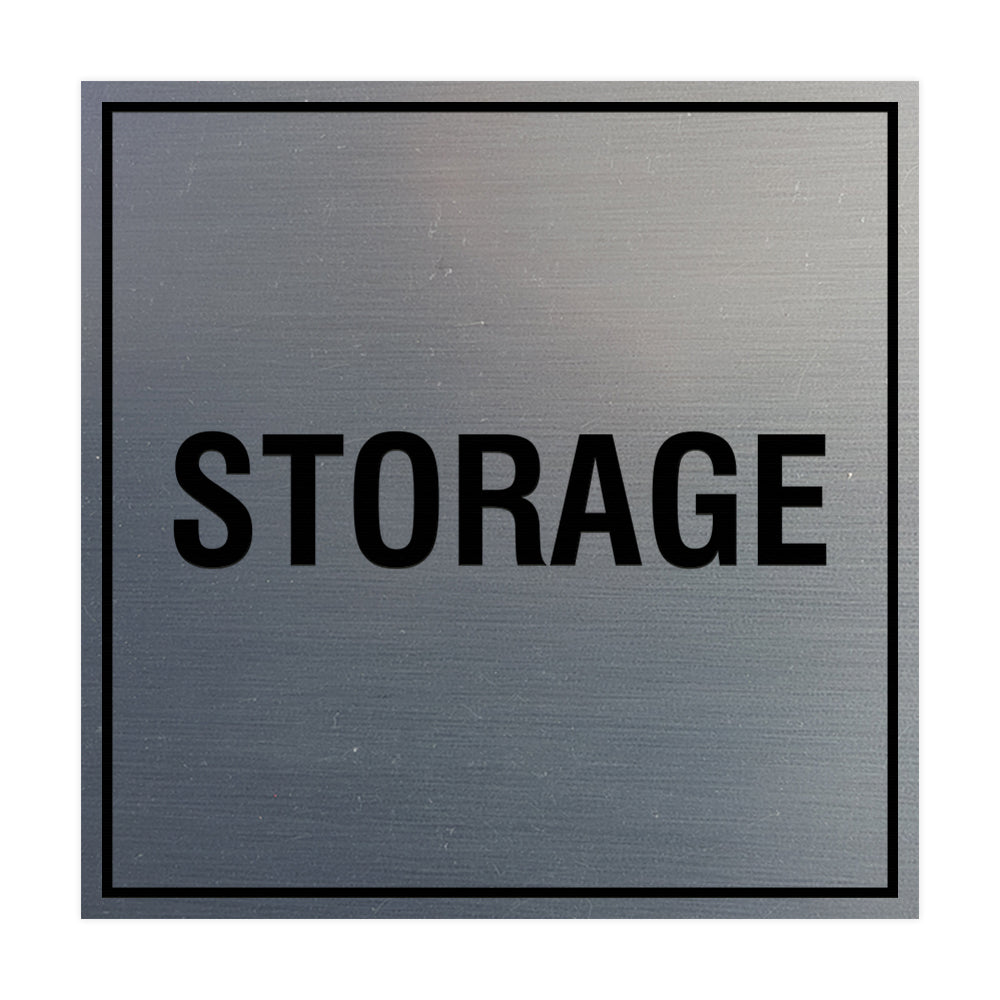 Brushed Silver Signs ByLITA Square Storage Sign