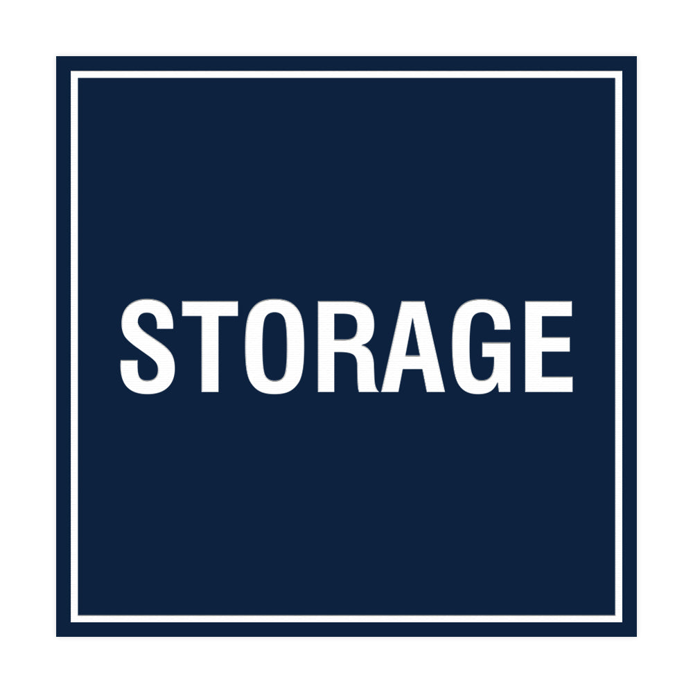 Navy Blue / White Signs ByLITA Square Storage Sign