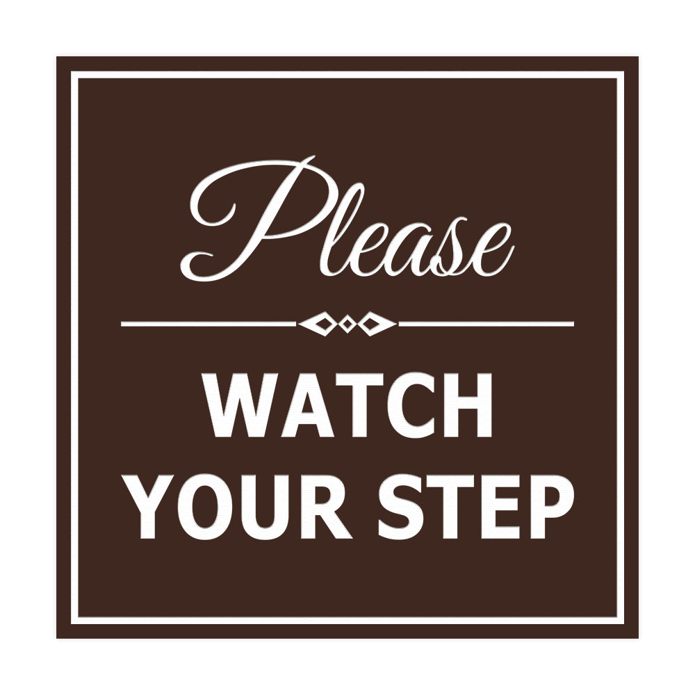 Signs ByLITA Square Classy Please Watch Your Step Sign with Adhesive Tape, Mounts On Any Surface, Weather Resistant, Indoor/Outdoor Use