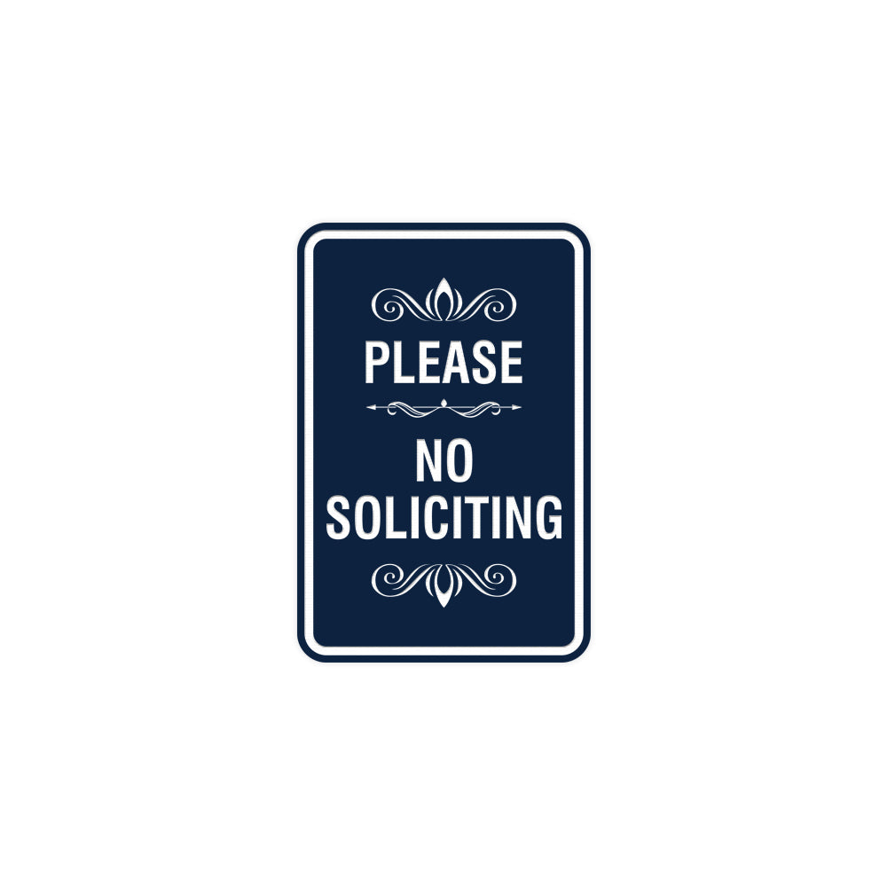 Portrait Round please no soliciting Sign with Adhesive Tape, Mounts On Any Surface, Weather Resistant