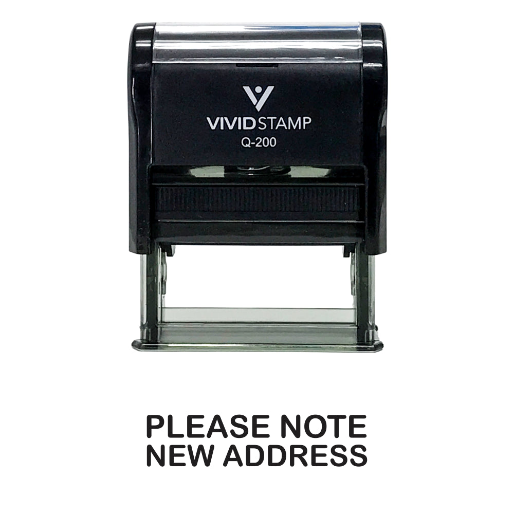 Black PLEASE NOTE NEW ADDRESS Self Inking Rubber Stamp