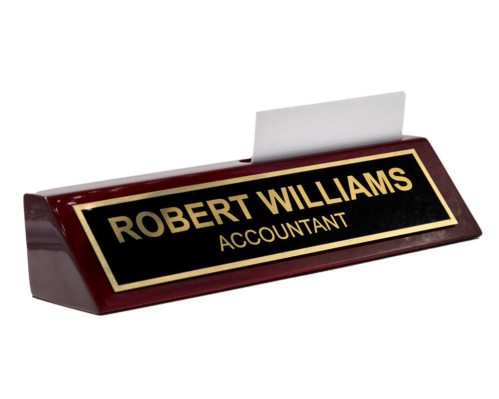 Piano FInished Rosewood Desk Name Plate with Card Holder