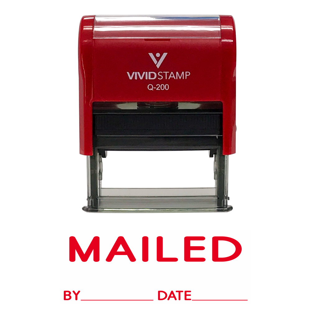Mailed With By Date Line Self Inking Rubber Stamp