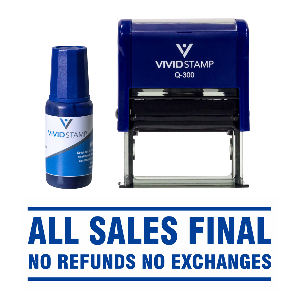 All Sales Final No Refunds Self Inking Rubber Stamp Combo with Refill