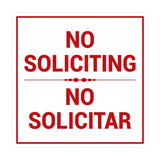 Square No Soliciting No Solicitar Sign with Adhesive Tape, Mounts On Any Surface, Weather Resistant