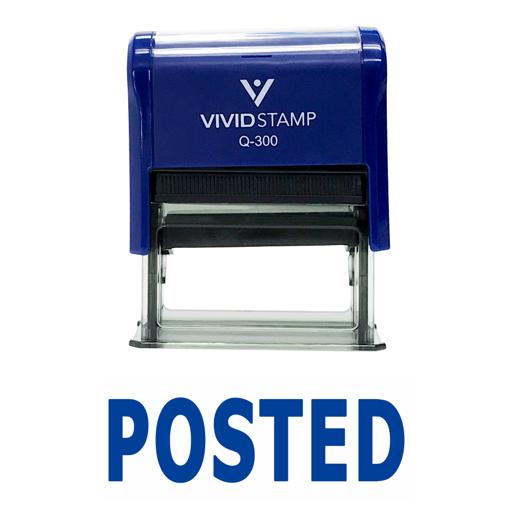 Blue POSTED Self Inking Rubber Stamp