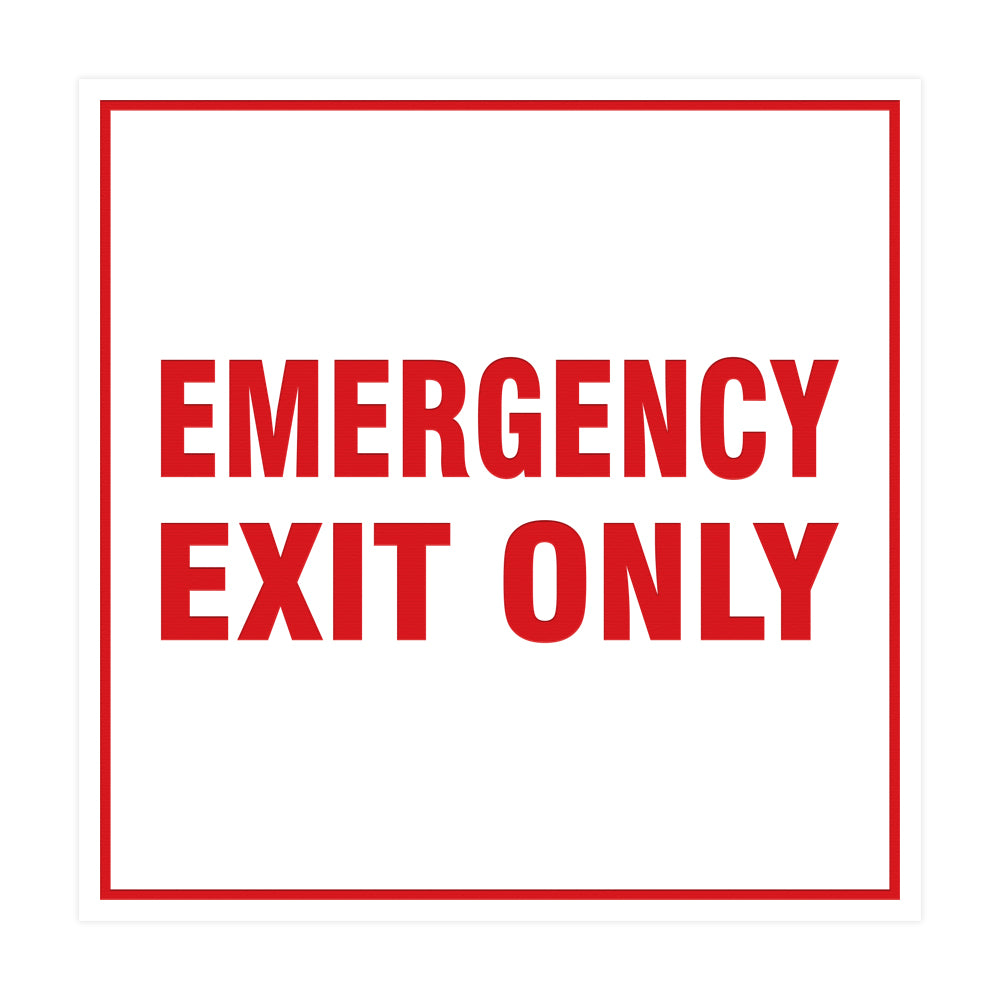 Signs ByLITA Square Emergency Exit Only Sign with Adhesive Tape