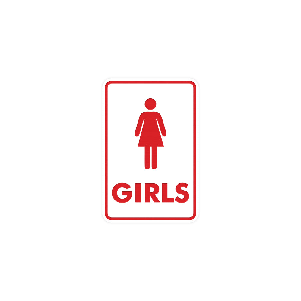 Signs ByLITA Portrait Round Girls (female bathroom icon) Sign with Adhesive Tape, Mounts On Any Surface, Weather Resistant, Indoor/Outdoor Use