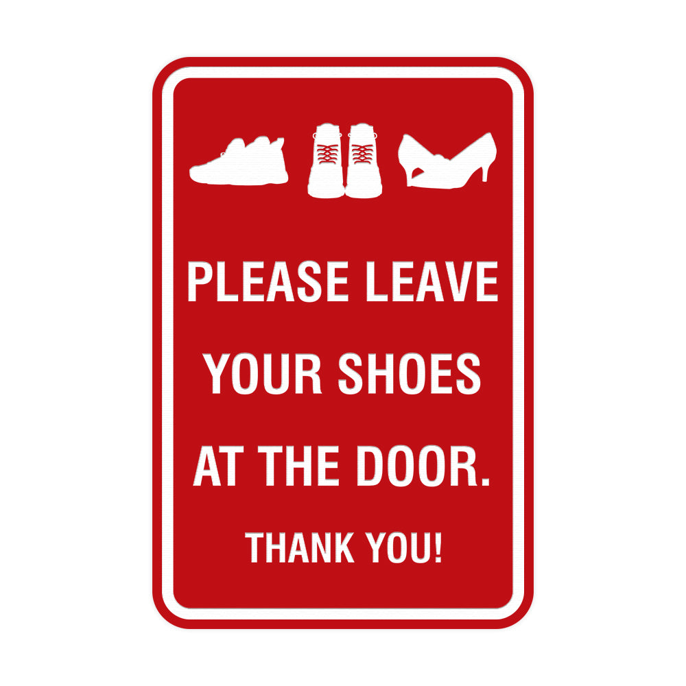 Portrait Round Please leave your shoes at the door thank you Sign with Adhesive Tape, Mounts On Any Surface, Weather Resistant