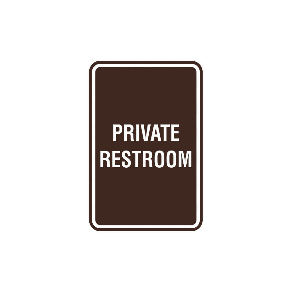 Portrait Round Private Restroom Sign with Adhesive Tape, Mounts On Any Surface, Weather Resistant
