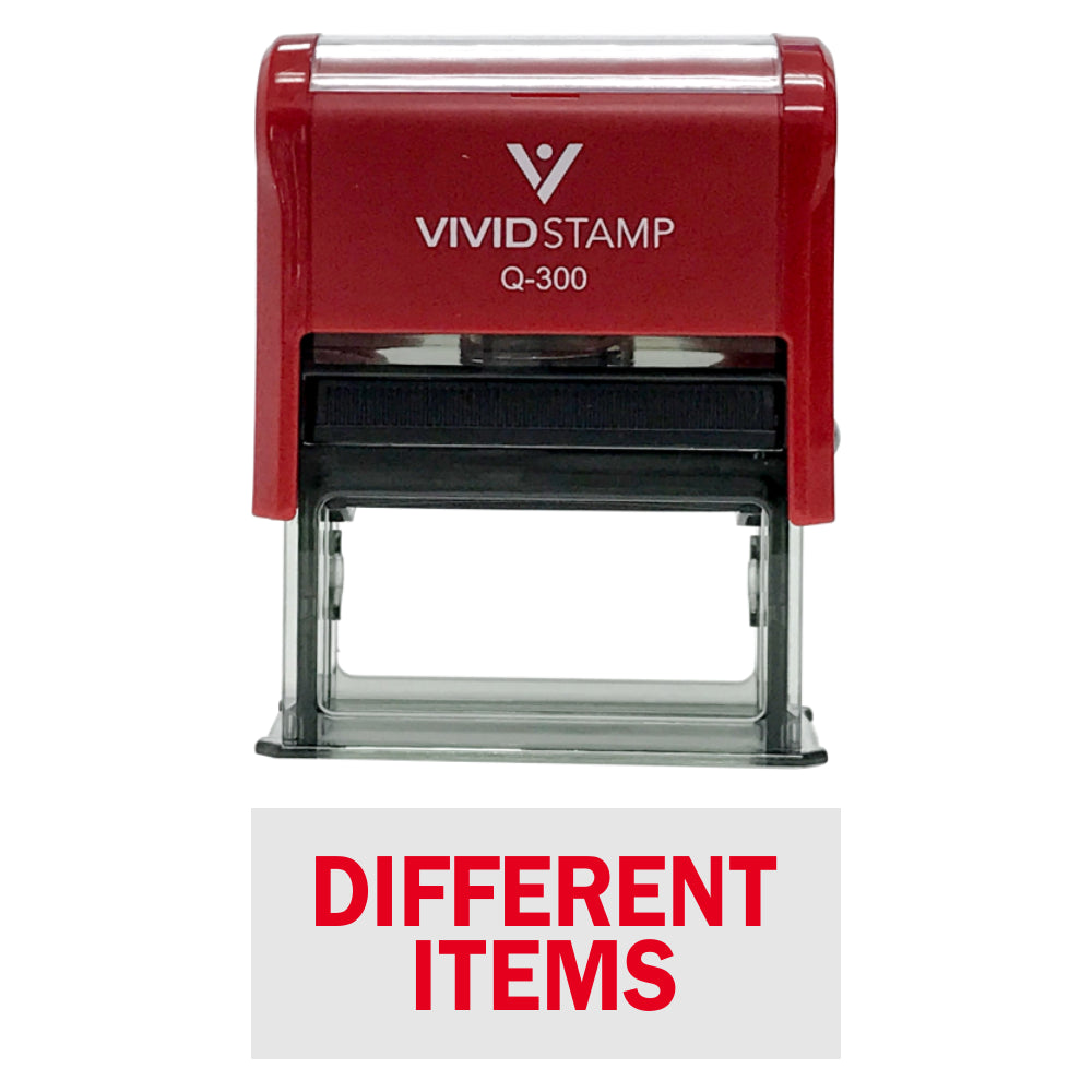 Red DIFFERENT ITEMS Self-Inking Office Rubber Stamp