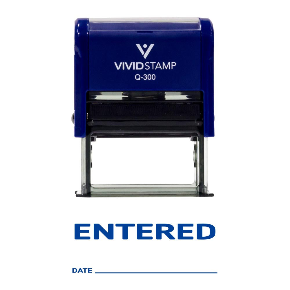 ENTERED with Date Line Self Inking Rubber Stamp