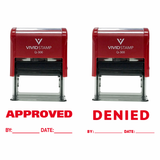Red APPROVED / DENIED By Date Self Inking Rubber Stamp