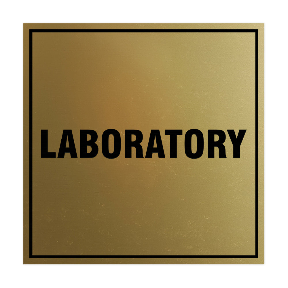 Square Laboratory Sign with Adhesive Tape, Mounts On Any Surface, Weather Resistant