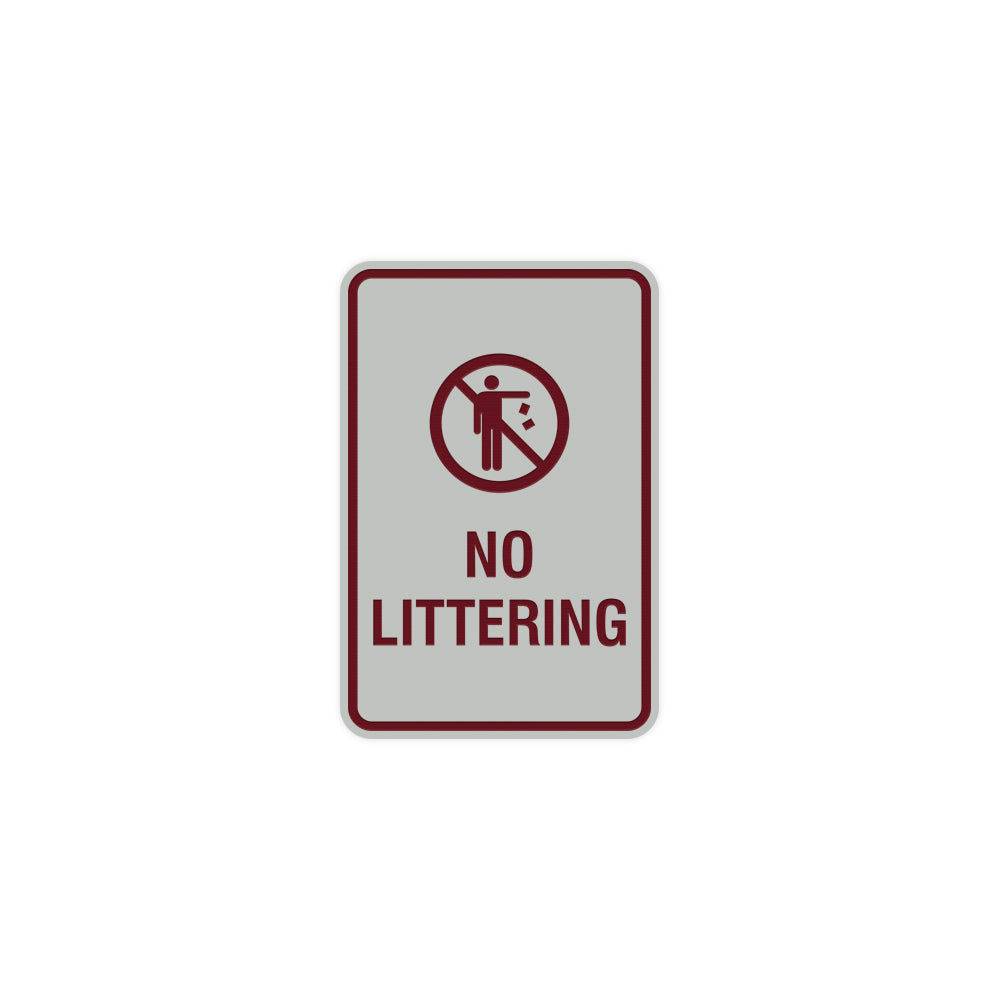 Portrait Round No Littering Sign With Adhesive Tape