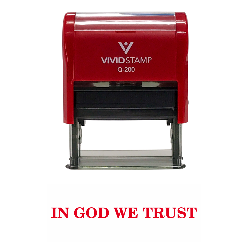 Red In God We Trust Self Inking Rubber Stamp