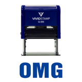 Blue OMG Self Inking Rubber Stamp