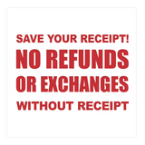 Square No Refunds No Exchanges Without Receipt Sign