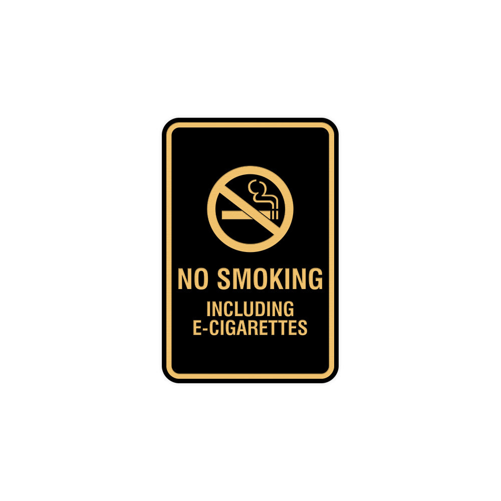 Signs ByLITA Portrait Round No Smoking Including E-Cigarettes Sign with Adhesive Tape, Mounts On Any Surface, Weather Resistant, Indoor/Outdoor Use