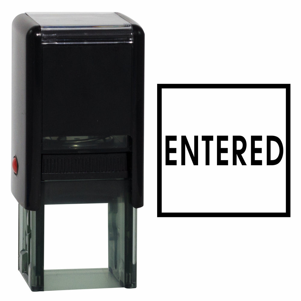 Black Square ENTERED Self Inking Rubber Stamp