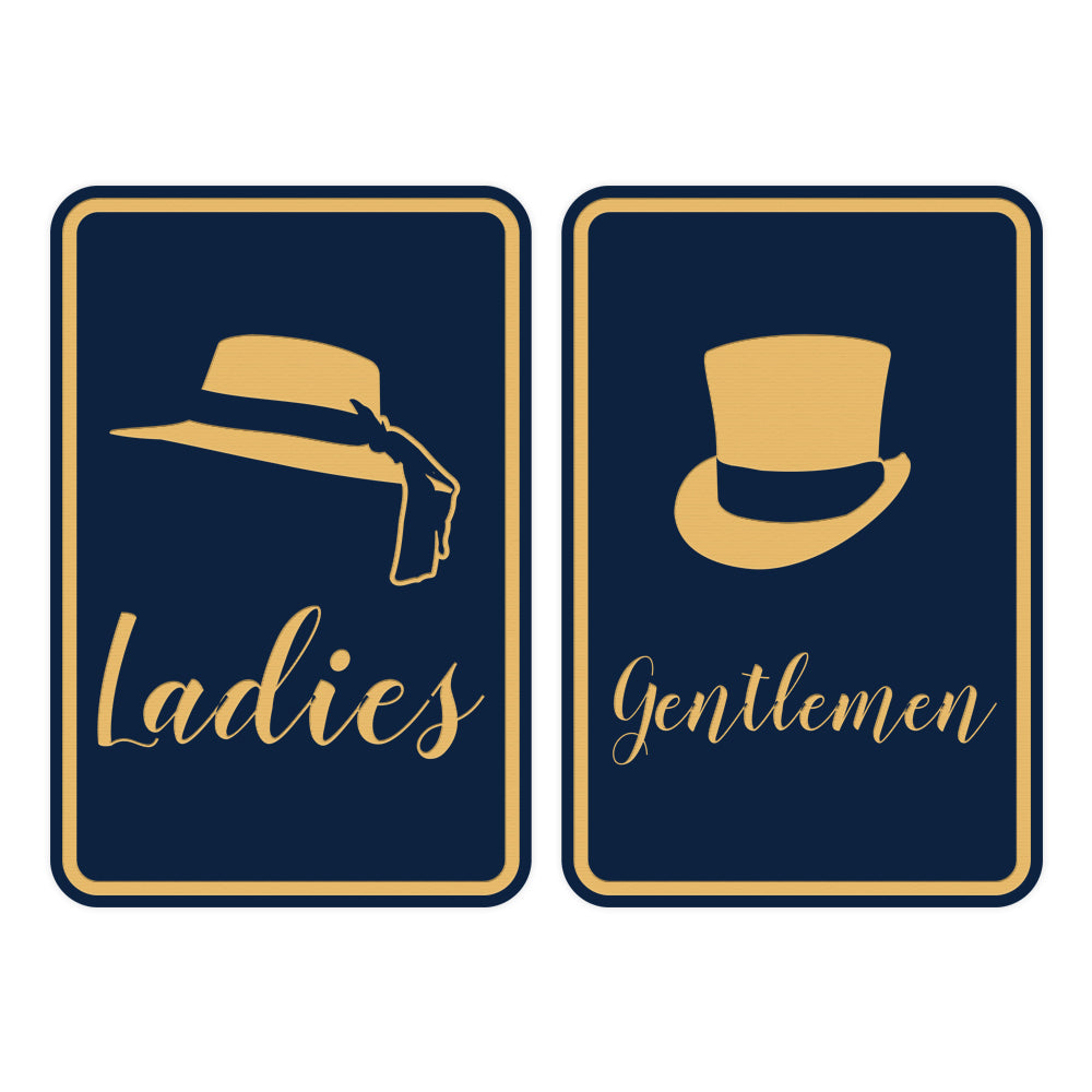 Signs ByLITA Portrait Round Ladies and gentlemen Sign Set with Adhesive Tape, Mounts On Any Surface, Weather Resistant, Indoor/Outdoor Use
