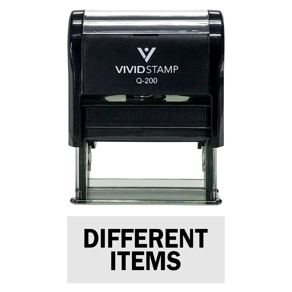 Black DIFFERENT ITEMS Self-Inking Office Rubber Stamp
