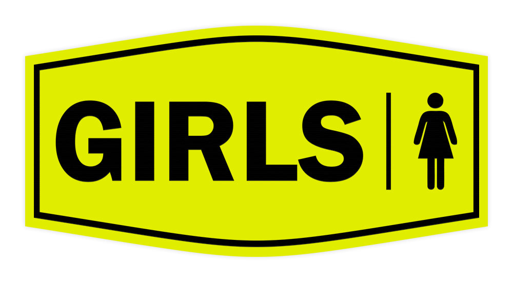 Signs ByLITA Fancy Girls (female bathroom icon) Sign with Adhesive Tape, Mounts On Any Surface, Weather Resistant, Indoor/Outdoor Use