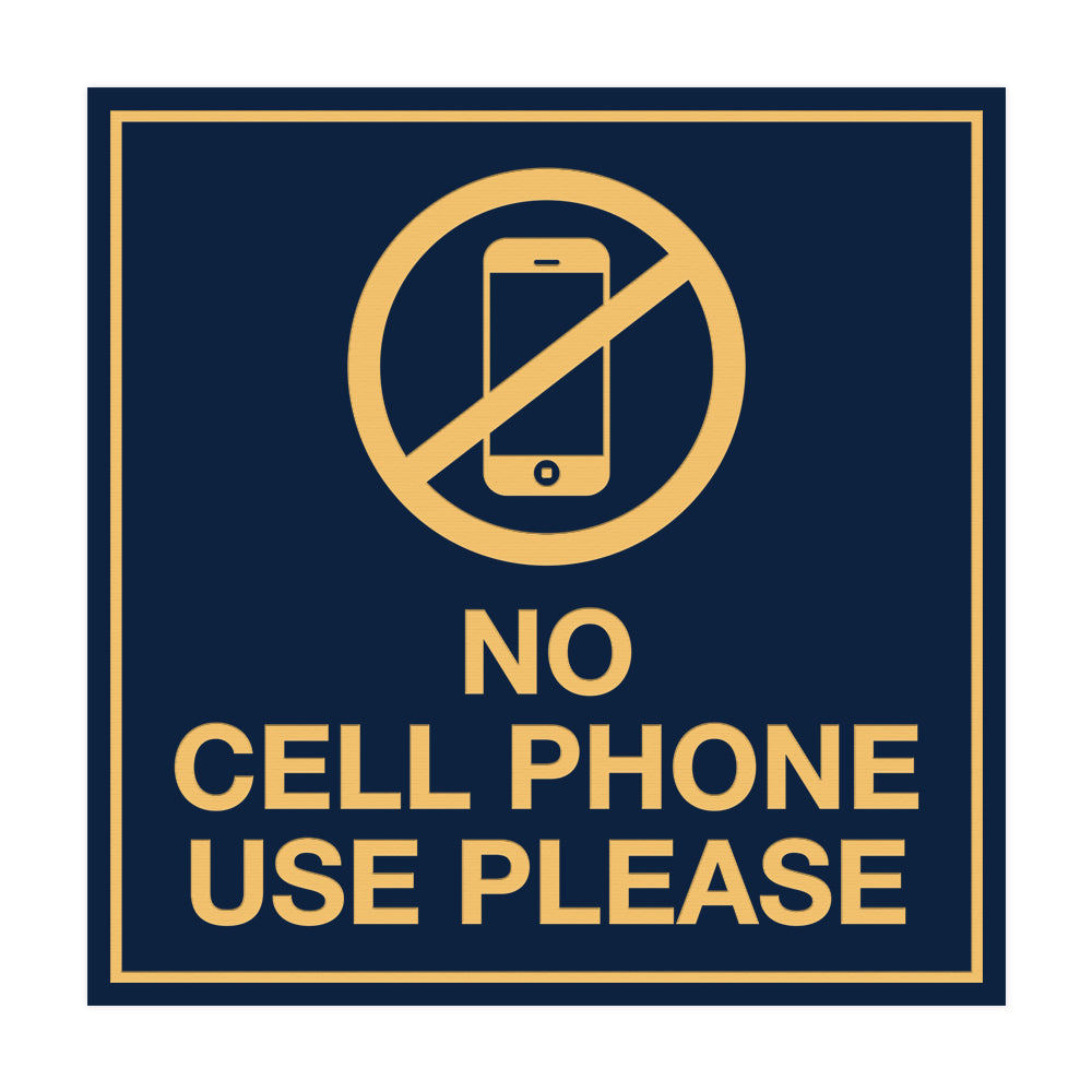 Signs ByLITA Square No Cell Phone Use Please Sign with Adhesive Tape, Mounts On Any Surface, Weather Resistant, Indoor/Outdoor Use