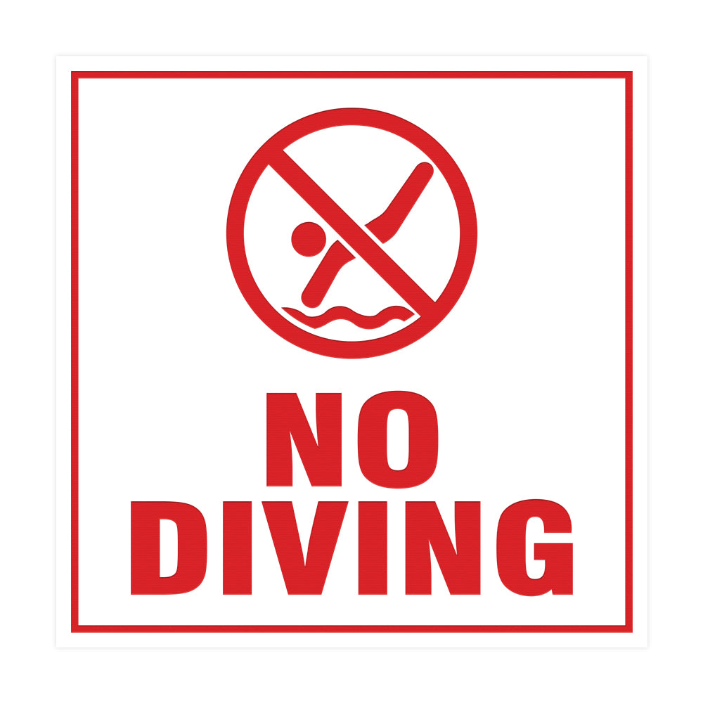 Square No Diving Sign with Adhesive Tape, Mounts On Any Surface, Weather Resistant