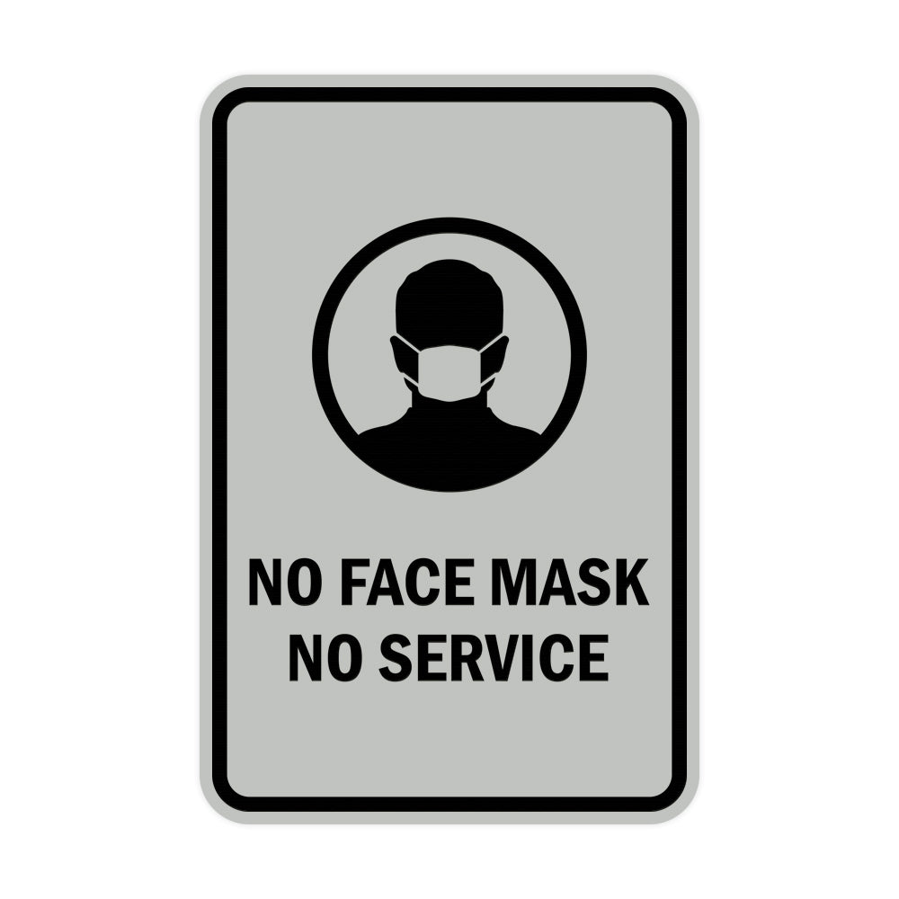 Signs ByLITA Portrait Round No Face Mask No Service Sign
